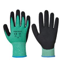 Tough Green HPPE Sandy Nitrile Cut 5 guantes de pesca submarina resistentes a cortes