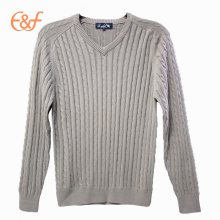Mode V-neck Cable Tricoté 100% coton Hommes Sweater