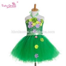 Vestido de tutú de la muchacha hecha a mano vestido de niña de las flores Disfraz de Halloween Niños Niños Vestido de Tulle Para Fiesta de color verde Prom Foto Vestidos