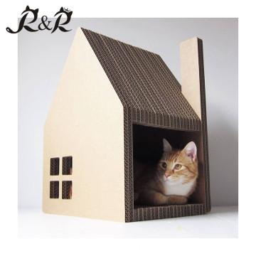 Calidad de la fuente al por mayor de cartón Experiencia en forma de alta calidad Cat House con Scratcher CT-4020