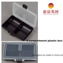 Clear Lid & Black Bottom 4 Compartment Storage Box