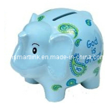 Cartoon Resin Elephant Coin Bank, Poly résine Elphant Money Box, boîte à monnaie animale