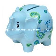 Cartoon Resin Elephant Coin Bank, Poly Resina Elphant Money Box, caixa de moeda animal
