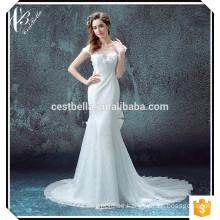 2016 Modesto vestido de novia de encaje con sirena de mariposa Vestidos de novia de satén por encargo