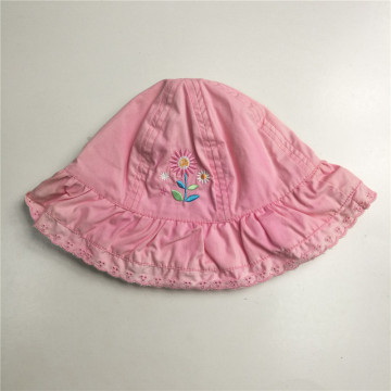Girls Sweet Pink Embroidery Floppy Hat