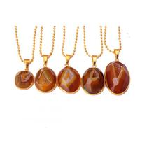 Natural Charms agate semi precious stone necklace with pendant