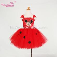 Bébé filles bande dessinée robe rouge enfants robe de fille tutu mignon tulle parti anniversaire robe enfants de noël costume