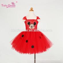 Bebê meninas dos desenhos animados vestido vermelho crianças menina tutu dress tule bonito festa de aniversário dress crianças traje de natal