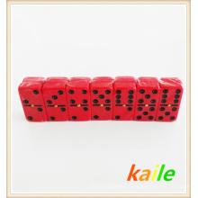 Double 6 plastique noir peinture domino rouge avec boîte en plastique
