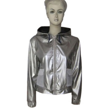 Woman pu leather jacket casual long sleeve