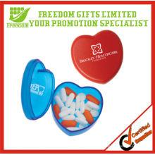 Caja de píldora en forma de corazón impresa promocional del logotipo