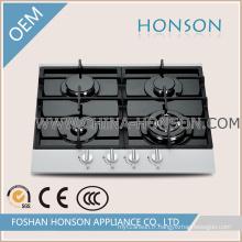 Panneau de gril de gaz de verre trempé de quatre brûleurs pour l'appareil de cuisine