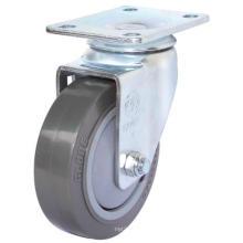 5 Inch Swivel PU Trolley Caster Wheel (Gray) (Flat Surface)