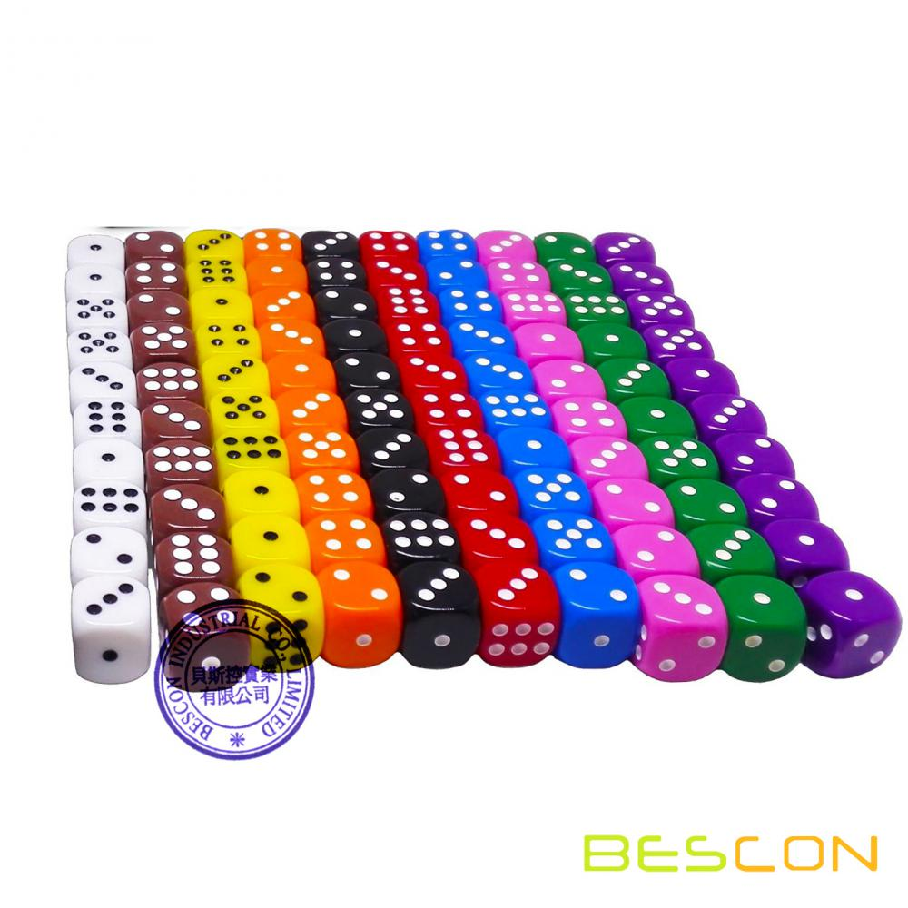100pcs surtido de 16MM color dados conjunto