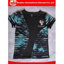 Diseño personalizado que imprime la camiseta al por mayor caliente de los niños de la manera del cuello redondo