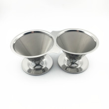 Reusable Paperless Stainless Steel Pour Over Drip Coffee Cone Filter
