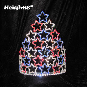 8in Height Crystal Pageant Crowns In Red/Blue/Clear rhinestones