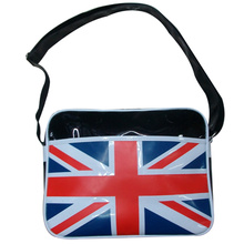 Union Jack style print shiny leather sling bag