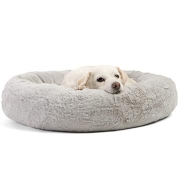 Cama redonda do cão da rosquinha
