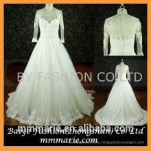 мусульманин с длинным рукавом свадебное платье милая кружева аппликация видеть сквозь назад кружева свадебное платье