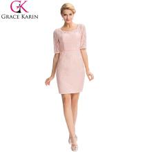 Grace Karin 2016 Formal Occasion Elegant Halbes Ärmel Spitze Mutter der Braut Kleid + Free Jacke GK000055-1