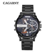 Cagarny Multifunktions Armbanduhr für Männer Edelstahl Bracelete Watch in Schwarz und Silber Farbe