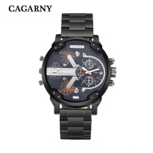 Cagarny многофункциональные наручные часы для мужчин из нержавеющей стали часы Bracelete в черный и серебристый Цвет