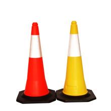 Hot Selling 75 cm Reflective Film Black Base Road Traffic Cones, Reflective PVC Traffic Cone/