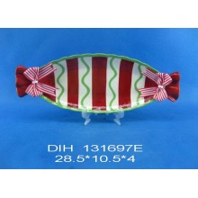 Candy-Shape Ceramic Plate with Ribbon for Christmas Decoration