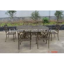 Mobilier d'extérieur en aluminium 7pc ensemble, table en plein air, chaise