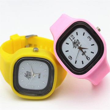 Fashion jelly band Sport square watch gifts