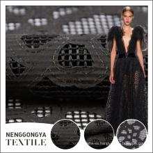 Tela del cordón del corte del laser del negro del tul del último diseño de la venta caliente para el vestido