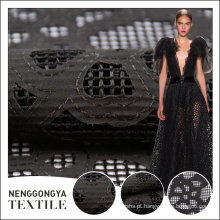 Venda quente mais recente projeto de tule preto laser de corte de tecido de renda para o vestido