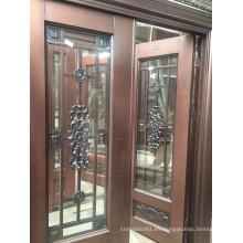 Puerta exterior de acero inoxidable cobre con dos vidrieras laterales y ventanas superiores