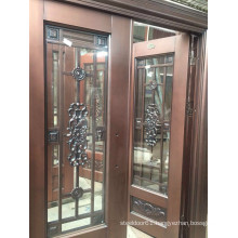 Exterior Stainless Steel copper door with two sidelites and top windows