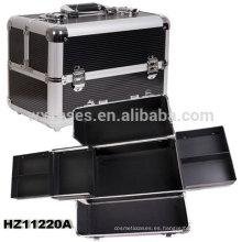 caso cosmético de aluminio negro con bandejas dentro de China fabricante