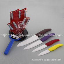 Colored ceramic knife set