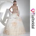 HH0054 champán color flores de tela de vestido de bola para vestidos de novia