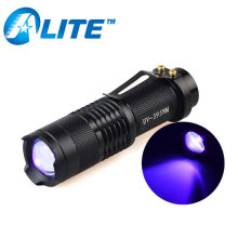 3W LED 395nm UV Blacklight Lamp AA Zoom Portable Ultraviolet Torch Light