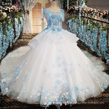 LS00170 O-neck cap mola appliques vestidos de padrões de flores para vestidos de noiva bohemian casamento vestidos