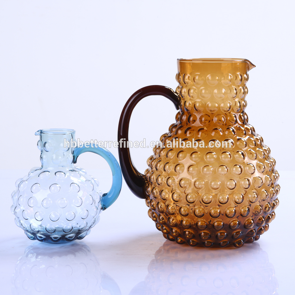 Hand Made Amber Bubbles Water Glass Pitcher