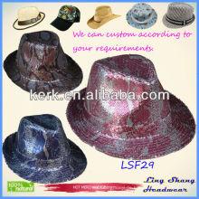 2013 populäre Sequins Hut billige Fabric Fedora Hut Sequin Cowboy Hut, LSF29