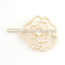 Mais recente design hot popular elegante personalizado pérola rosa acessórios hairpin flor
