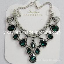 Lady Modeschmuck Grün Waterdrop Glas Kristall Anhänger Halskette (JE0211-grün)