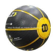 Black Medicine Ball with Yellow Design