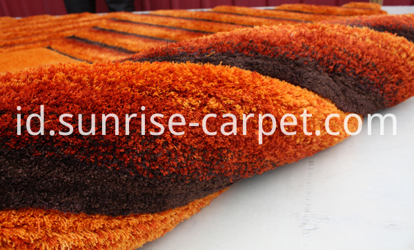 Microfiber 3D Shaggy Rug with Rust color