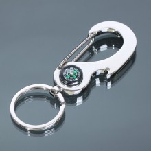 Stainless Steel Compass Metal Key Ring