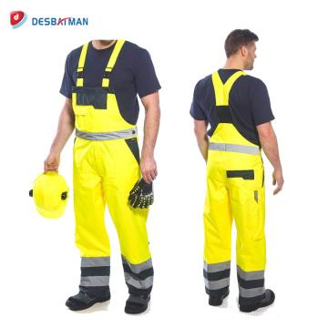 Mono de trabajo de seguridad amarillo de contraste de alta visibilidad, mono para hombre con cintas reflectantes y 6 bolsillos Top En 20471