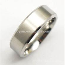 Simples dois tons aço inoxidável homens prateados anéis brancos