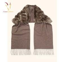 Высокое качество длинные монгольские бахромой шарф с мехом